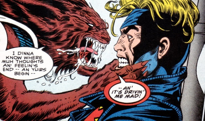 A vicious looking Rahne grabs Alex and confronts him about her mixed up feelings