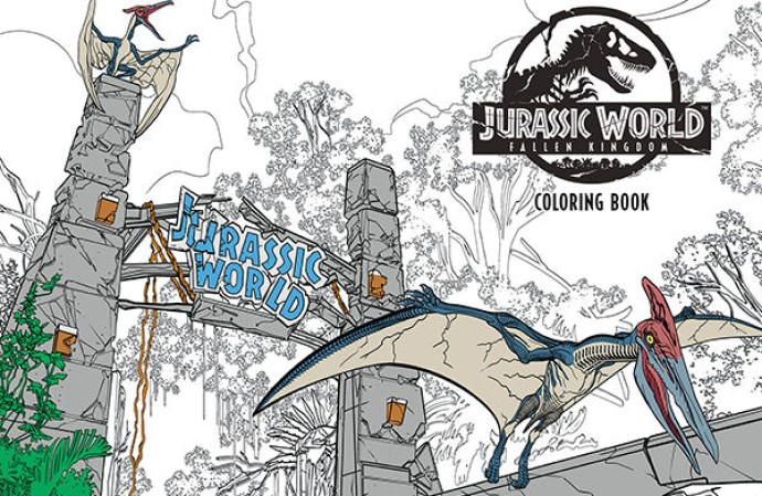 A flying dinosaur escapes the battered entrance to the Jurassic World park