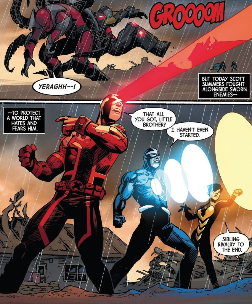 "Alex and Scott stand together, fighting as a team, but still make comments leading to Wasp saying ""Sibling rivalry till the end."""