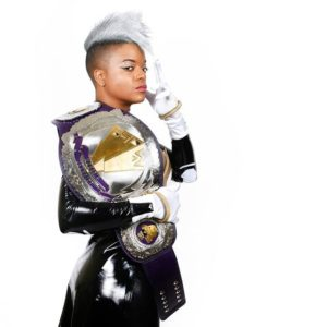 Monroe as Storm with her Championship belt.
