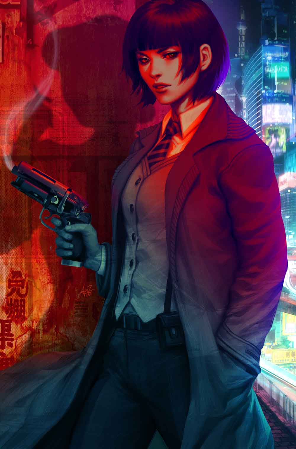 A woman holding a gun with a cityscape in the background