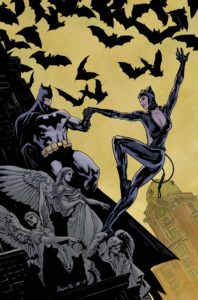 Batman and Catwoman dancing on a rooftop surrounded by bats and angels