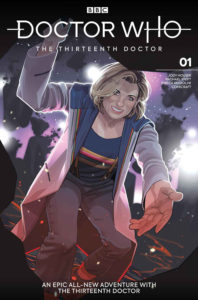 Doctor Who: The Thirteenth Doctor Volume 1: A New Beginning Cover D by Rachel Stott. Written by Jody Houser, drawn by Rachel Stott. Published by Titan Comics and BBC. May 7, 2019.