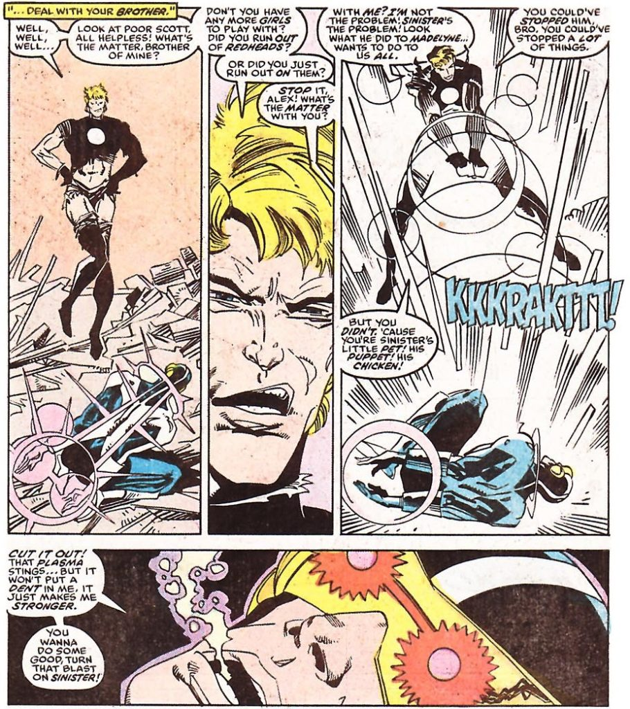 A very sassy Havok teases Cyclops, who is bound and on his knees