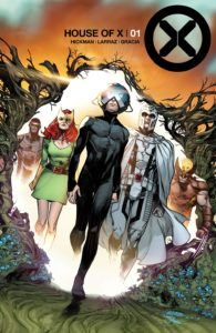 A group of X-Men led by an unfamiliar character in a hideous helmet step out of a hole in the world.