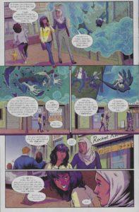 Kamala Khan and her friend Nakia walk through Jersey City while Kamala recounts how she got her powers