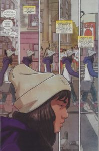 Kamala Khan walks through Jersey city