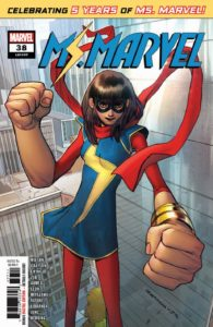 Ms. Marvel stands tall with her hands in oversized fists