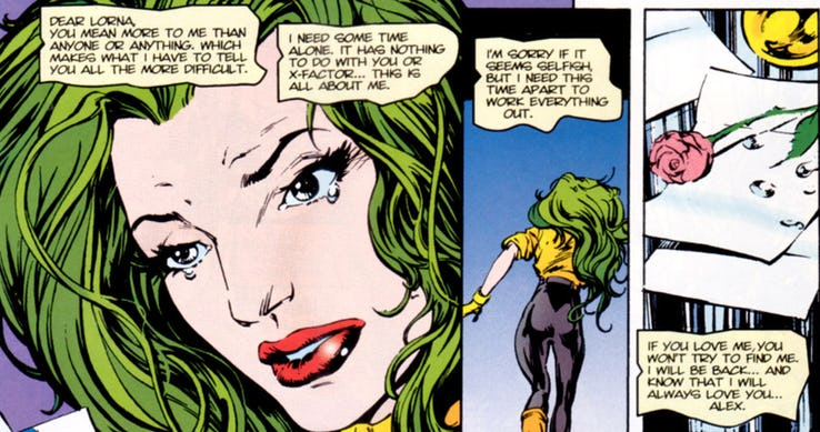 Lorna Dane finds a break up note from Havok and runs away in tears