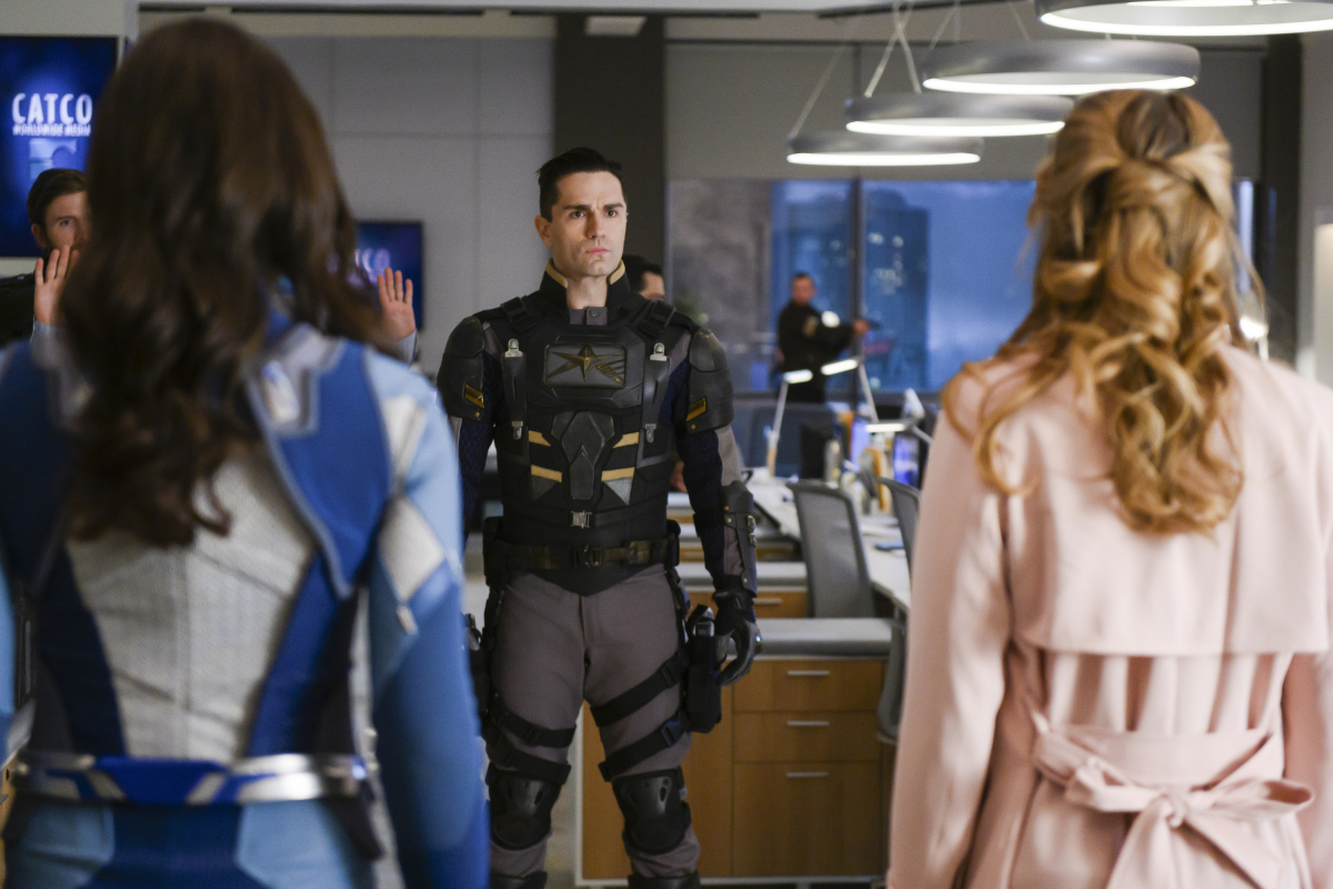 Nicole Maines as Nia Nal/Dreamer, Sam Witwer as Ben Lockwood/Agent Liberty and Melissa Benoist as Kara/Supergirl