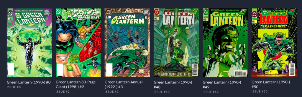 A listing of Green Lantern Books available in the DC Universe App