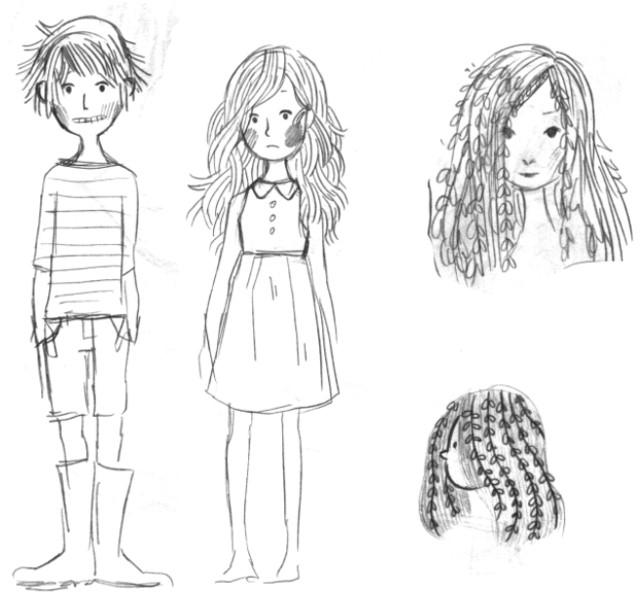 Sketches of a short-haired young girl named Willow and her friend, a young girl with leaves in her hair.