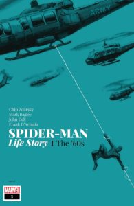 Spider-Man swings off an army helicopter