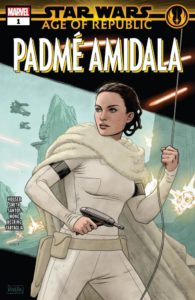 Padmé Amidala looks fierce while holding a blaster