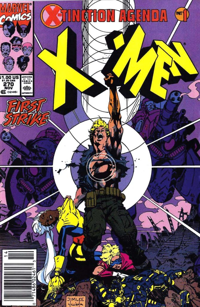 Havok blasts the X-Men logo above his head, while holding a comatose Storm by her shirt