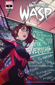 "Nadia Van Dyne stand in front of a chalkboard which declares she needs to ""Fix everything"""