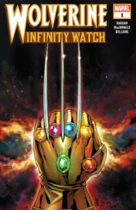 Wolverine's iconic 3-clawed hand wearing the Infinity Gauntlet
