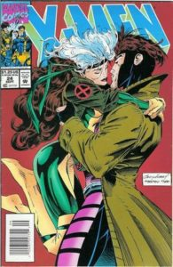 Rogue and Gambit share a romantic moment
