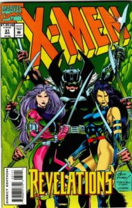 Psylocke and Revanche stand in repose, which six-armed spiral behind them in shadows, a sword in each hand.