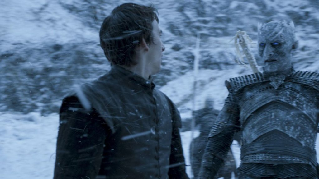 Bran and the Night King face each other amidst a snow storm