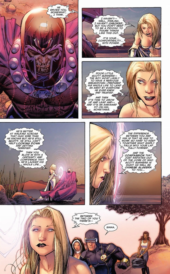 Magneto sits in a trance while Emma Frost explains why Scott envies him