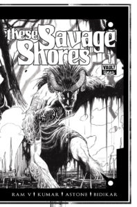 A black and white image of a horned humanoid monster emerging menacingly from a swamp
