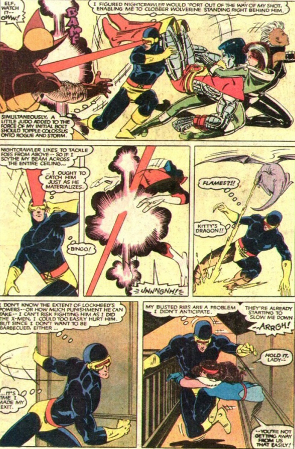 Cyclops assesses the actions of his teammates to determine how to incapacitate them