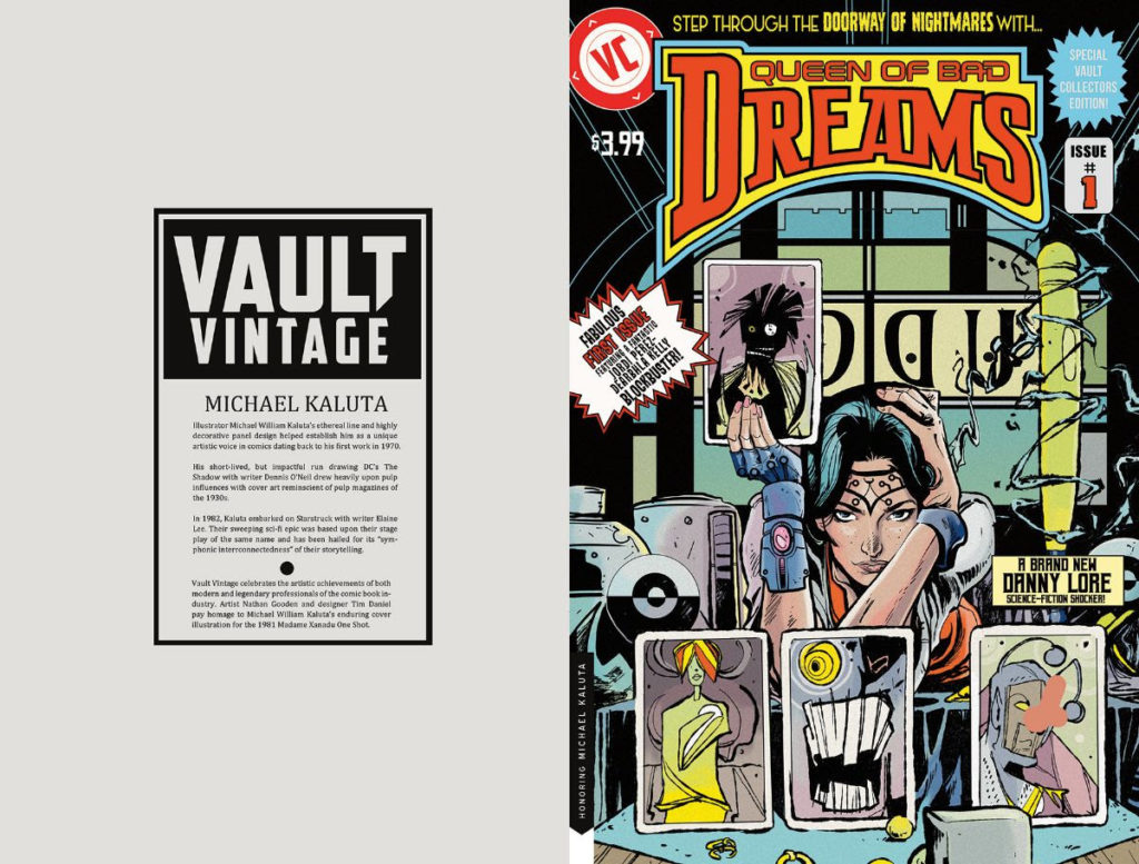 QUEEN OF BAD DREAMS #1 Vault Vintage cover pays tribute the Michael William Kaluta's famous cover to the 1981 Madam Xanadu one-shot.