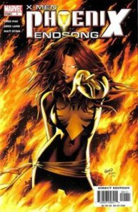 Dark Phoenix points menacingly, flames rise around her.