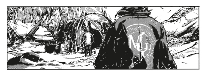 Panel from H. P. Lovecraft's Mountains of Madness - A person's backside is turned to the viewer. Another person is walking into the background, towards what appears to be a ravaged campsite.