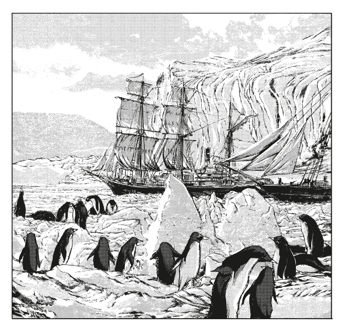 A giant ship vessel is entering the frame from right. A group of penguins are loitering and frolicking in the foreground of ice.