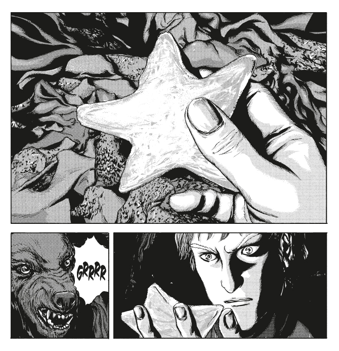 Top most panel: a close-up of a hand holding a star-shaped, stone. Bottom right panel: a man pulls his hand, holding the star, closer to his face. He stares at it intensely. Panel, bottom left: close up of a dog barking.