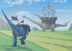 A girl rides on the back of a 2-legged dinosaur. Ahead, across the field, a giant brontosaurus plods along with a ship on its back.