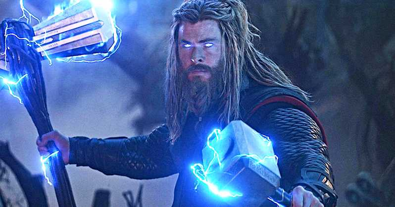 Chris Hemsworth wields his ax and hammer as Thor