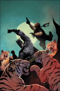 Batman fighting tigers
