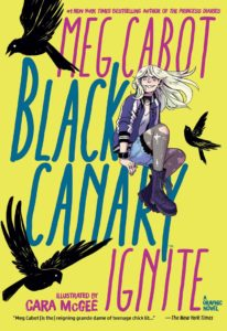 Black Canary sitting surrounded by blackbirds