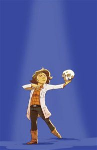 Giant Days #11, Treiman, Lissa, BOOM Studios, 2019 - A person in a lab coat poses dramatically with a skull in one hand