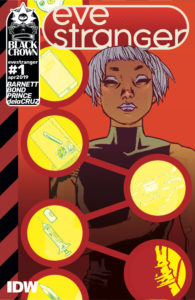 Eve Stranger: Retrograde Part One: Rescue Me cover by Philip Bond. Written by David Barnett and drawn by Philip Bond. Published by IDW Publishing. May 8, 2019 - A woman with short pale hair, surrounded by illustrations of various objects in yellow circular frames