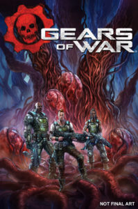 Gears of War #1 cover by Alan Quah. Written by Kurtis Wiebe and drawn by Alan Quah. Published by IDW Publishing. May 8, 2019 - Three soldiers in combat gear standing on what looks like the roots of a sinister red tree, whose trunks resemble tentacles