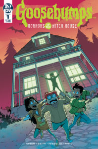 Goosebumps: Horrors of the Witch House cover - Art by Chris Fenoglio. Written by Matthew Dow Smith and Denton J Tipton, and drawn by Chris Fenoglio. Published by IDW Publishing. May 1, 2019 - Three kids run in terror from a house where a silhouette with red eyes stands threateningly in the open doorway