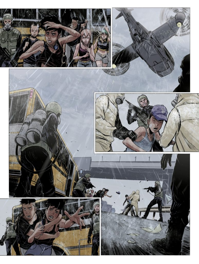 A fight breaks out in Green Class: Pandemic Page 11. Written by Jérôme Hamon, drawn by David Tako. Published by Europe Comics. April 17, 2019.
