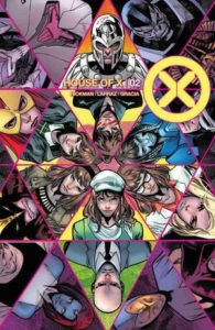 A geometric shape filled with iconic X-Men
