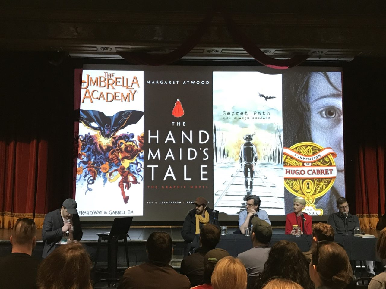 TCAF 2019 Page to Screen Panel. Featuring Gabriel Bá, Brian Sleznick, Renee Nault, and Jeff Lemire. Photo by Louis Skye.