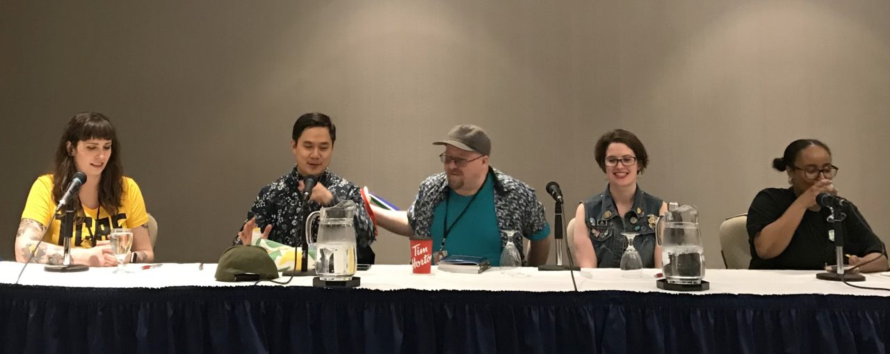 TCAF 2019 Five Years of Toronto Comics Panel. Featuring Jason Loo, Stephanie Cooke, Steven Andrews, and Allison O'Toole. Photo by Louis Skye.