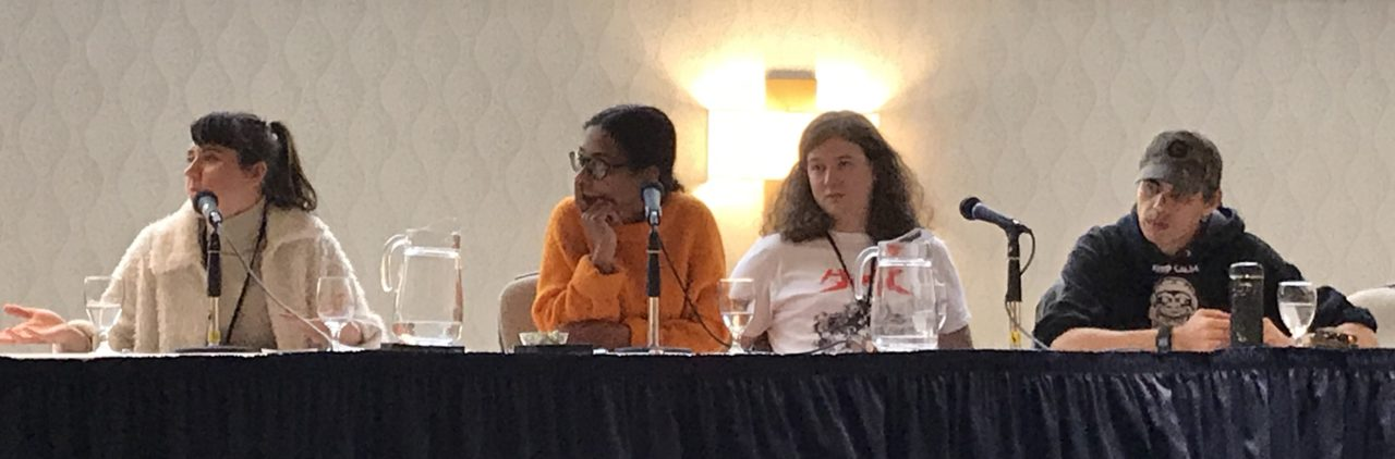 TCAF 2019 Comics Activism Panel. Featuring Daria Bogdanska, Bessora, Cole Pauls, and Gord Hill. Photo by Louis Skye.