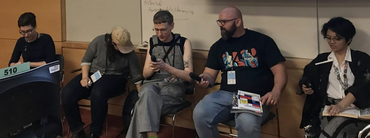 TCAF 2019 Contemporary Queer Comics Panel. Featuring A.C. Esguerra, Steve MacIsaac, Eric Kostiuk Williams, Sophie Yanow, and Blue Delliquanti. Photo by Louis Skye.