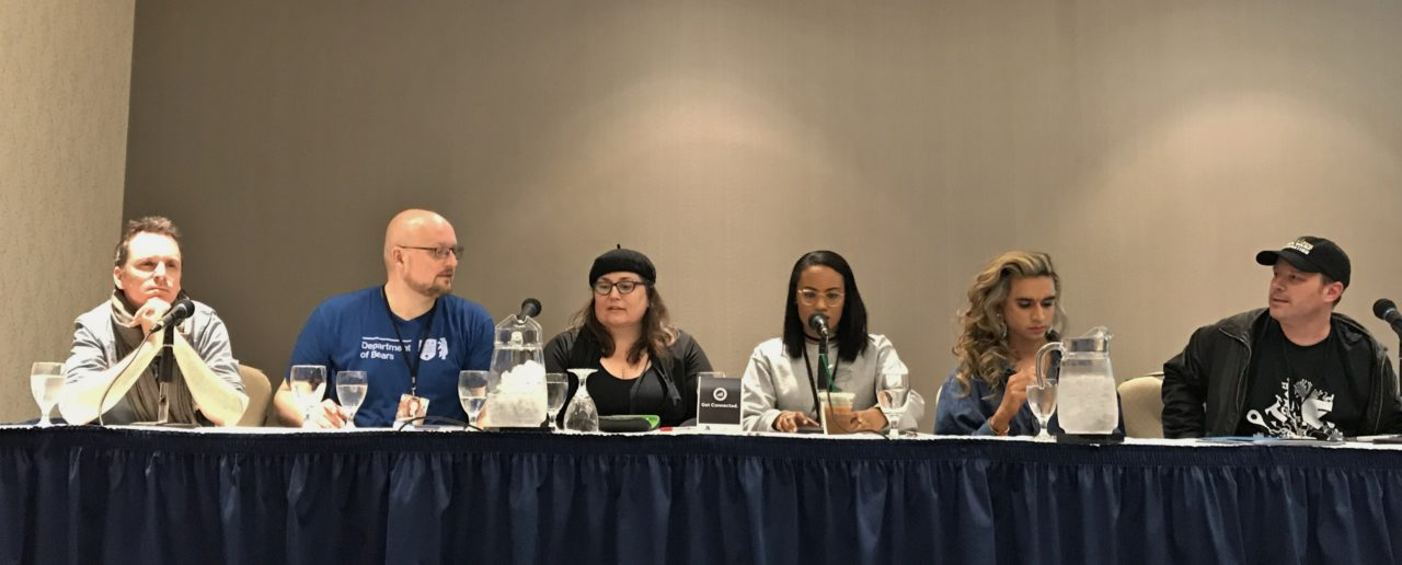 TCAF 2019 Writing For Others Panel. Featuring Vivek Shraya, Jamila Rowser, Richard Marazano, Andrew Wheeler, and BC Holmes. Photo by Louis Skye.
