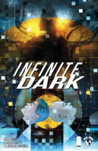 Infinite Dark #5 (Top Cow Comics, April 2019) - Two faces in profile look up at a silhouetted figure