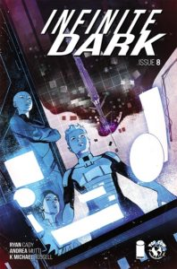 Infinite Dark #9 (Top Cow Comics, July 2019) - Three figures stare through a screen lit up by white panels