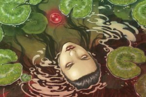 Layla Cover. Written by Jérémy, drawn by Mika. Published by Europe Comics. April 17, 2019. - A dark-haired woman submerged in a pool with her face above the water, lily pads floating around her